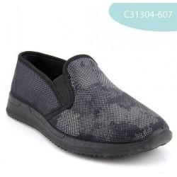 MEDIMA scarpe elasticizzate RANIA 31304 pantofole mocassini tessuto elastico NERO FIORATO