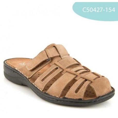 MEDIMA ciabatte sandali pelle nabuck TECNOSAN THOMAS 50427 plantare estraibile TORTORA 1 strappo