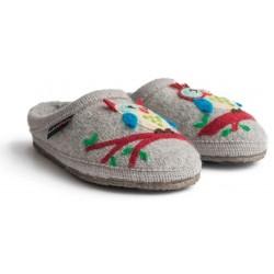 HAFLINGER pantofole basse GRETA GRIGIO 613112 plantare lana cotta GUFO antiscivolo