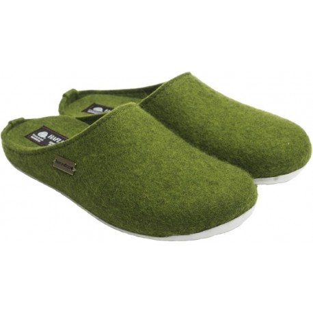 HAFLINGER pantofole unisex FUNDUS VERDE 481024 feltro lana cotta blu fondo gomma