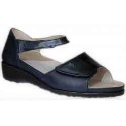 OASI scarpe punta aperta 803 sandali pelle con strappi plantare estraibile BLU AVIO vernice