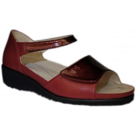 OASI scarpe punta aperta 803 sandali pelle con strappi plantare estraibile ROSSO vernice