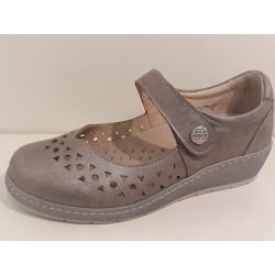 LOREN scarpe pelle traforate sandali decolte M2838 plantare estraibile TAUPE ANTICATO
