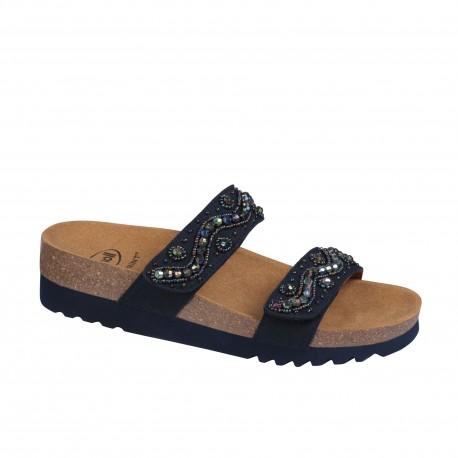 SCHOLL ciabatte sandali 2 fasce con strappo ZAFIRAH plantare BioPrint BLU perline