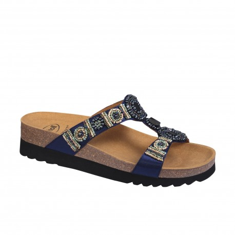 SCHOLL ciabatte sandali NEW BOGOTA' WEDGE plantare BioPrint BLU SCURO perline pietre
