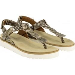 BENVADO sandali infradito pelle capra MARZIA CUOIO SHINY plantare 2 strappi regolabili