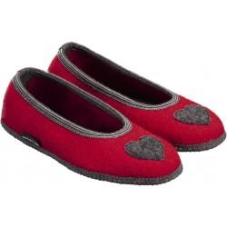 HAFLINGER pantofole ballerina MARINA CORDIAL 623320 lana cotta rubin CUORI ROSSO