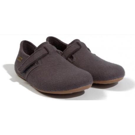 HAFLINGER pantofole scarpe uomo FOCUS asphalt 481056 feltro lana cotta ASFALTO fondo gomma