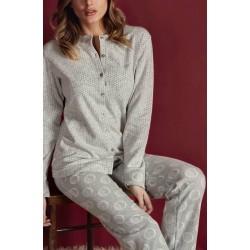 Q BO' pigiama invernale 3310 serafino giacca aperta bottoni punto milano flanella GRIGIO CHIARO