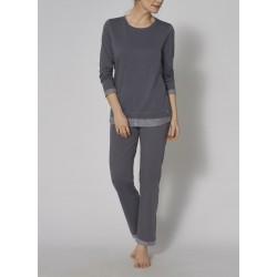 TRIUMPH pigiama PIMA lungo pregiato puro cotone BLU AVIO bordo rigato