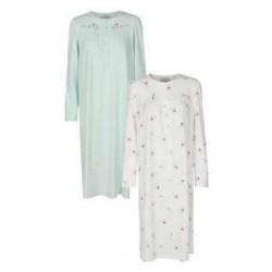 TRIUMPH camicia notte manica lunga 2 pezzi TIMELESS cotone MENTA/BIANCO doppio pacco taglie forti