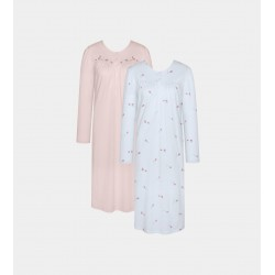 TRIUMPH camicia notte manica lunga 2 pezzi TIMELESS cotone ROSA/AZZURRO doppio pacco taglie forti