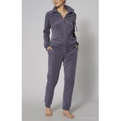 TRIUMPH tuta con zip cotone ciniglia SETS LS VELOUR 02 pigiama cerniera BLUETTE AVIO