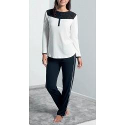 Q BO' pigiama leggero 2896 serafino 5 bottoni manica lunga cotone modal devorè AVORIO/NERO