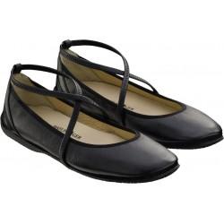 HAFLINGER scarpa donna pelle alce morbidissima BALLERINA 455001701 LISA plantare NERO
