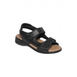 SCHOLL sandali donna NEW LISBON 2.0 pelle NERO calzata ampia velcri plantare Memory