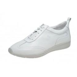SANAGENS scarpe uomo pelle WASH 501 plantare estraibile lavabile lacci BIANCO