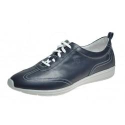 SANAGENS scarpe uomo pelle WASH 501 plantare estraibile lavabile lacci BLU NAVY