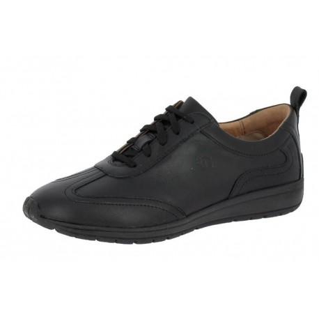 SANAGENS scarpe uomo pelle WASH 501 plantare estraibile lavabile lacci NERO NOIR