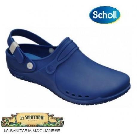 SCHOLL zoccolo lavoro CLOG PROGRESS scarpa gomma plantare cinturino regolab. BLU