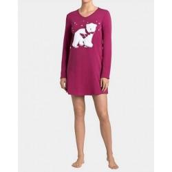 TRIUMPH camicia notte donna cotone invernale AW16 NDK Bear Orso rosso bordeaux