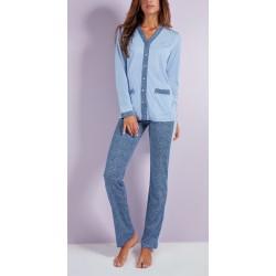Q BO' pigiama leggero 4143 aperto bottoni manica lunga tasche cotone modal BLU LAVANDA