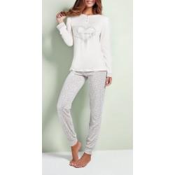 Q BO' pigiama leggero 4150 serafino 3 bottoni manica lunga cotone modal BIANCO/GRIGIO