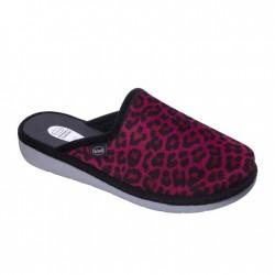 SCHOLL ciabatte pantofole LAUREN calda microfibra leopardo ROSSO/NERO plantare Memory Cushion