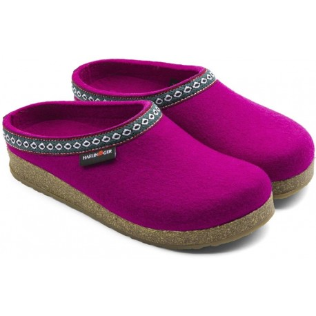 HAFLINGER pantofole FRANZL KARDINAL feltro di lana cotta fondo gomma VIOLA FUXIA tirolese