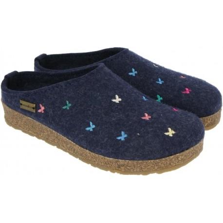 HAFLINGER pantofole KRIS BORBOLETA JEANS feltro di lana cotta fondo sughero gomma FARFALLE BLU