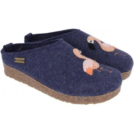 HAFLINGER pantofole KRIS FLAMINGO JEANS feltro di lana cotta fondo sughero gomma FENICOTTERI BLU