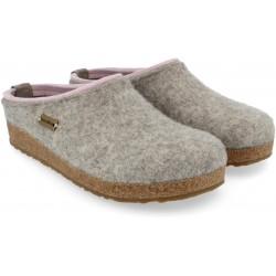 HAFLINGER pantofole KRIS STEINGRAU feltro di lana cotta fondo sughero gomma GRIGIO ROSA 711056384