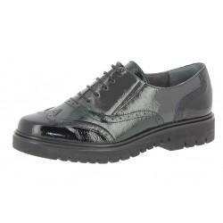 SANAGENS scarpe donna pelle/vernice lacci CASUAL PRED 1847 NERO/VERDE/GRIGIO plantare estraibile
