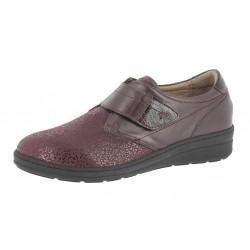 SANAGENS scarpe pelle/elast calzata MAGGIORATA 28 plantare estraibile BORDEAUX strappo
