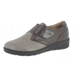 SANAGENS scarpe pelle/elast calzata MAGGIORATA 28 plantare estraibile TORTORA strappo