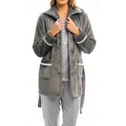 BARANDI vestaglia pile donna DONATELLA 33 giacca corta invernale bottoni tasche cintura GRIGIO PERLA fino XXXL taglie fo