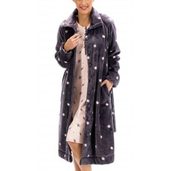BARANDI vestaglia pile donna NOA-32 lunga invernale bottoni tasche cintura BLU STELLE fino XXXL taglie forti
