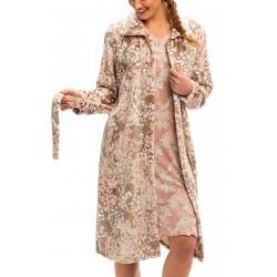 BARANDI vestaglia pile donna CARINE-34 lunga invernale bottoni tasche cintura FANTASIA BEIGE/ROSA fino XXXL taglie forti