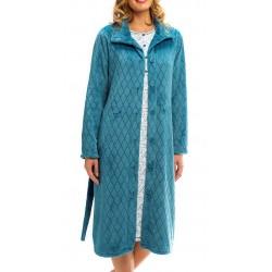 BARANDI vestaglia pile donna CLASS21-3 lunga invernale bottoni tasche cintura TURCHESE fino XXXL taglie forti