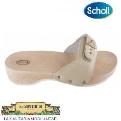 SCHOLL zoccolo aperto legno PESCURA TACCO cinturino imbottito in pelle SABBIA con fibbia regolabile