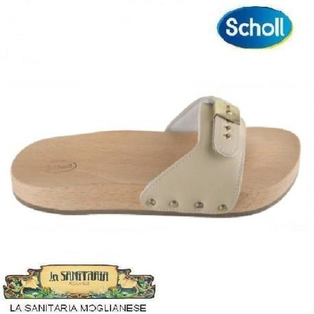 SCHOLL zoccolo aperto legno PESCURA PIATTO cinturino imbottito in pelle SABBIA con fibbia regolabile