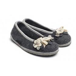 HAFLINGER pantofole ballerina MARINA BLUTEN 62331704 lana cotta fiori ANTRACITE
