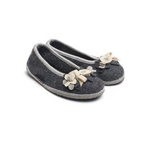 HAFLINGER pantofole ballerina MARINA BLUTEN 62331704 WALKSTOFF lana cotta fiori ANTRACITE