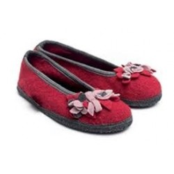 HAFLINGER pantofole ballerina MARINA BLUTEN 62331785 WALKSTOFF lana cotta fiori ROSSO