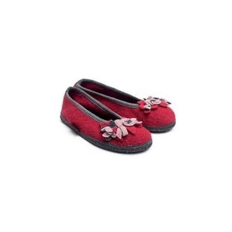 HAFLINGER pantofole ballerina MARINA BLUTEN 62331785 lana cotta fiori ROSSO antiscivolo