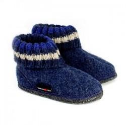 HAFLINGER pantofole bambino unisex PAUL 63105172B JEANS lana cotta BLU