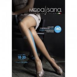 MODASANA SANAGENS calze elastiche 140 DEN COLLANT maglia rete NERO