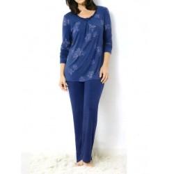 TRIUMPH pigiama donna MODERN FINESSE 10163869 elegante jersey viscosa fiori blu