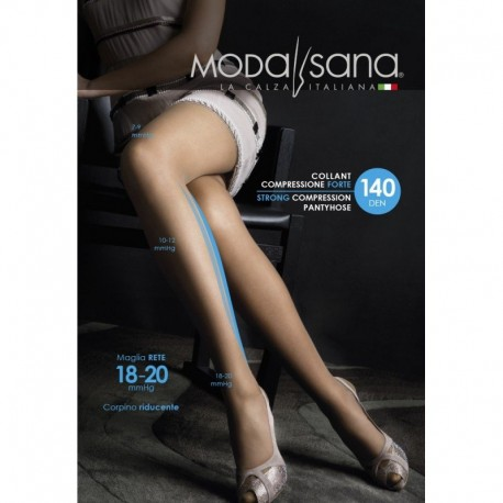 MODASANA SANAGENS calze elastiche 140 DEN COLLANT maglia rete VISONE