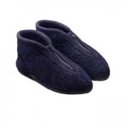 HAFLINGER pantofole unisex con zip ZIPPER KAPITAN 671501 lana cotta BLU antiscivolo